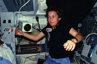 Cleave onboard Space Shuttle