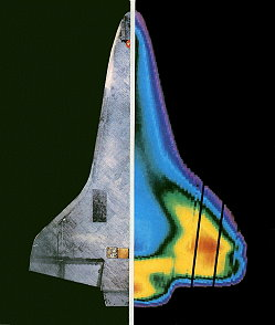 STS-3 infrared photo during reentry